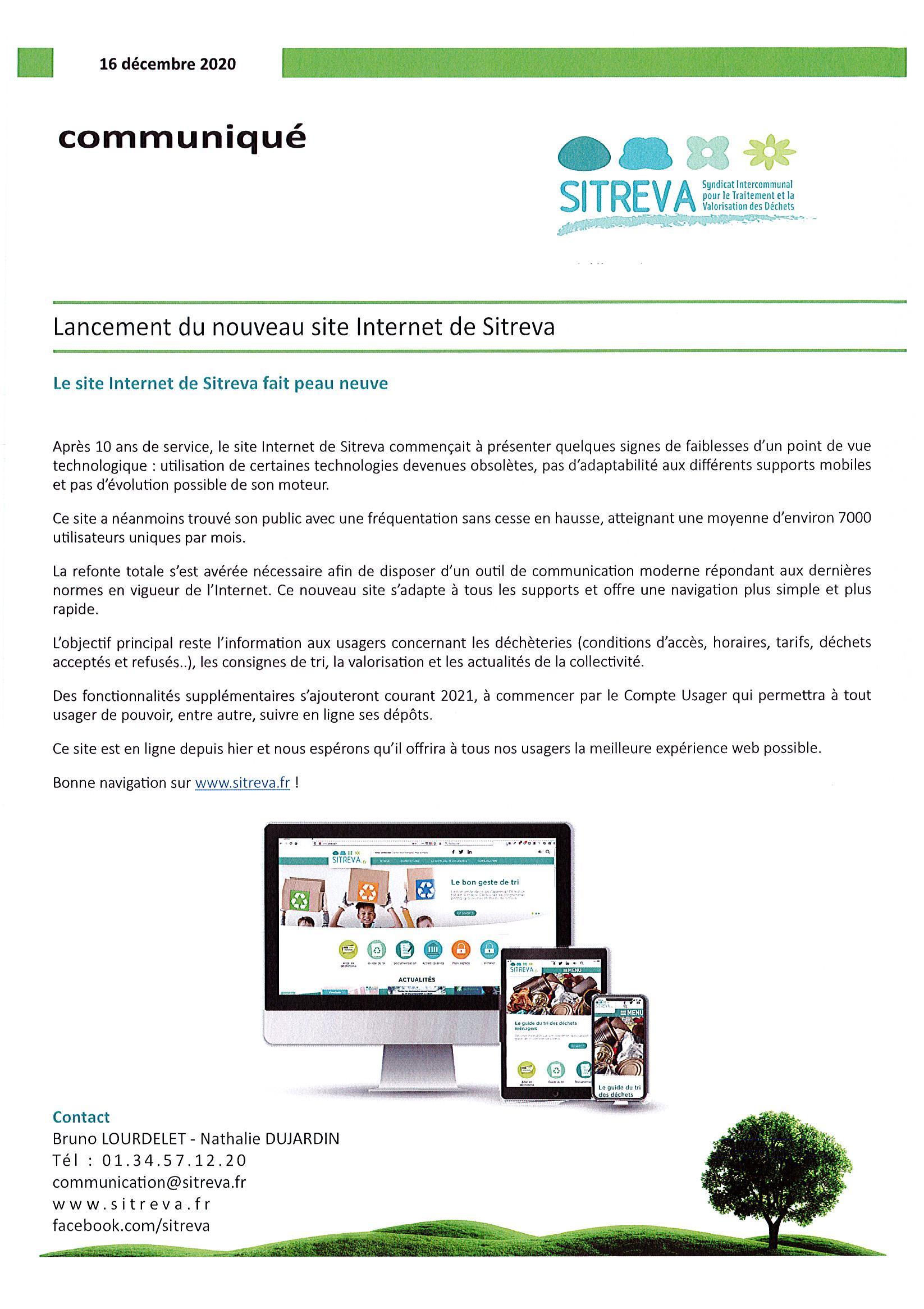 Communiqué Sitreva