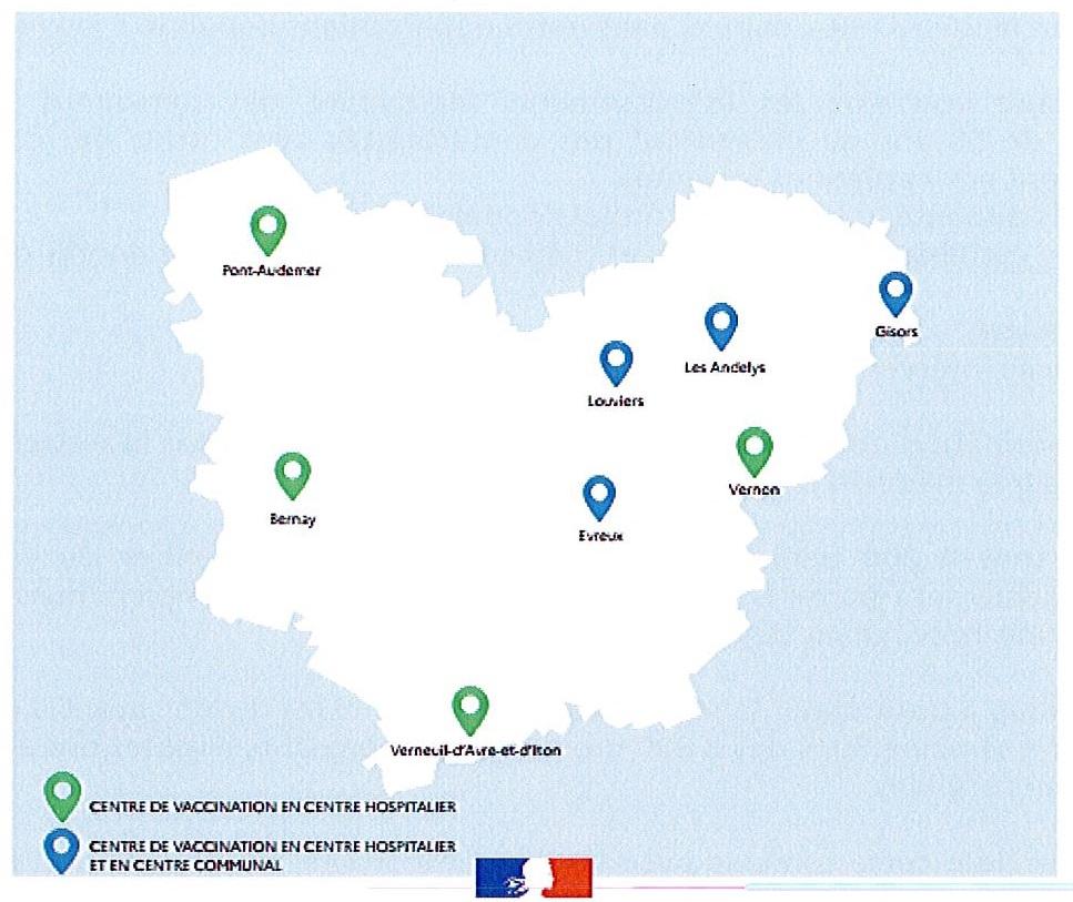 Carte 11 centres de vaccination dans l'eure