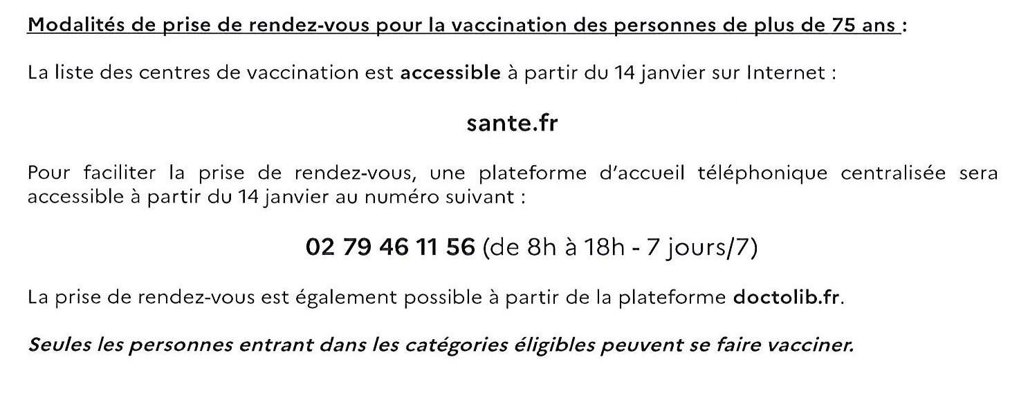 Modalités vaccination dans l'eure