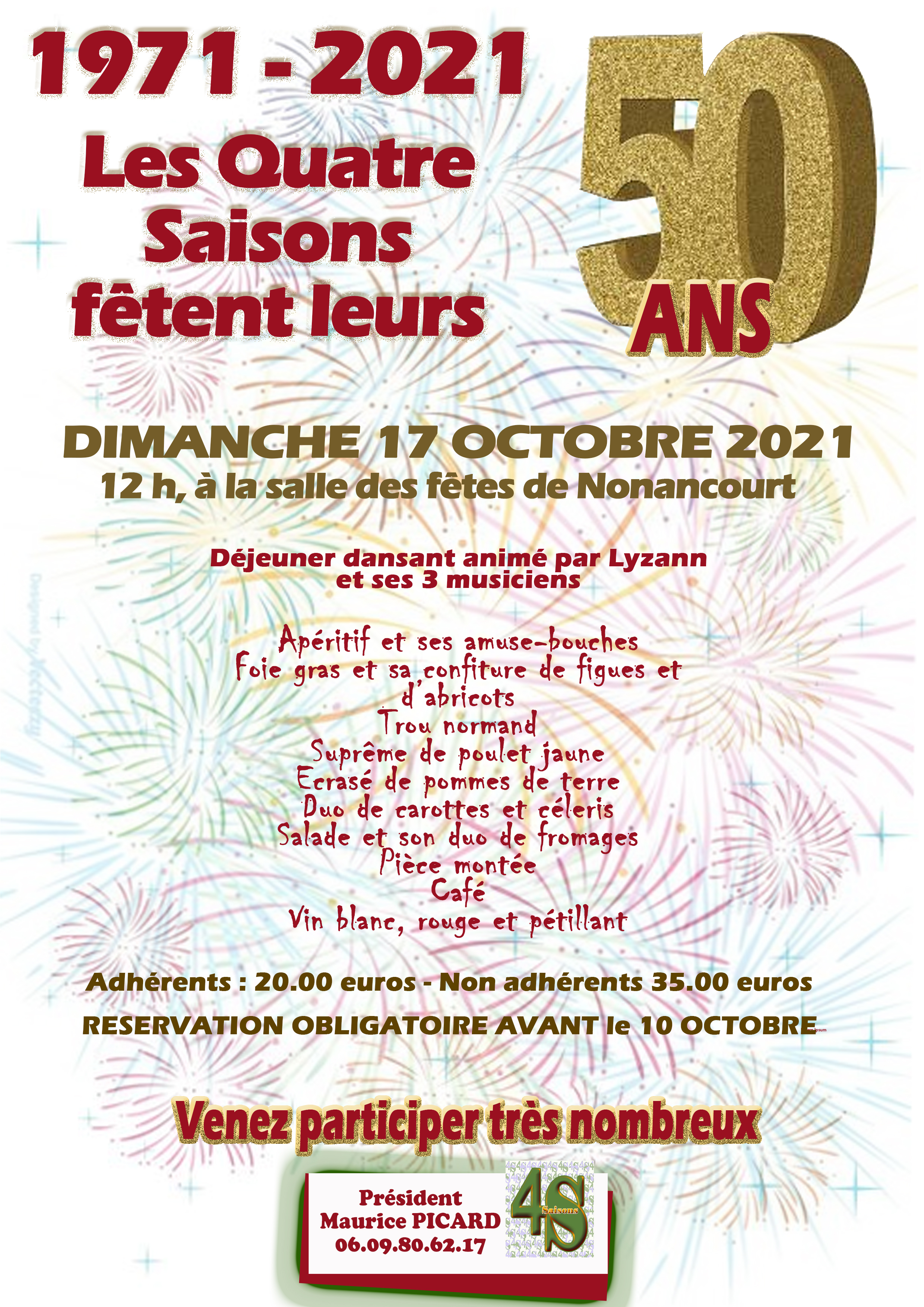 Déjeuner Dansant - 50 Ans des Quatre Saisons @ Salle des Fêtes de Nonancourt